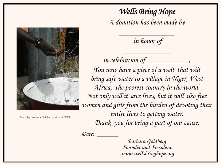 wells bring hope honor someone with a donation certificate